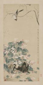 华嵒 海棠禽兔图轴。纸本大小63.32*123.92厘米。宣纸艺术微喷复制。190元包邮