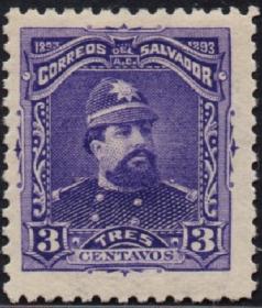 外国古典邮票ZK,萨尔瓦多1893年卡洛斯·埃塞塔将军名人,雕刻版