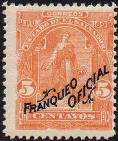 外国古典邮票ZK,萨尔瓦多1899年谷神星,女神镰刀谷物,加盖公事