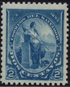 外国古典邮票ZK,萨尔瓦多1894年哥伦布发现美洲400年2c和平女神
