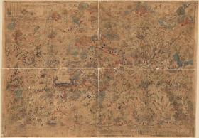 古地图1846 五台山圣境全图 彩绘本  板存慈福寺。纸本大小197.36*137厘米。宣纸艺术微喷复制。