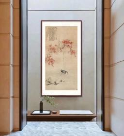 华嵒 桃潭浴鸭图轴新版。纸本大小138.72*272.51厘米。宣纸艺术微喷复制。画心