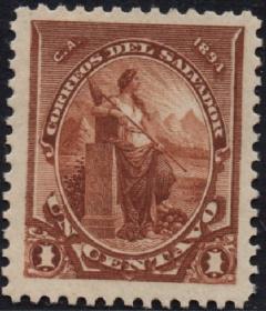 外国古典邮票ZK,萨尔瓦多1894年哥伦布发现美洲400年1c和平女神