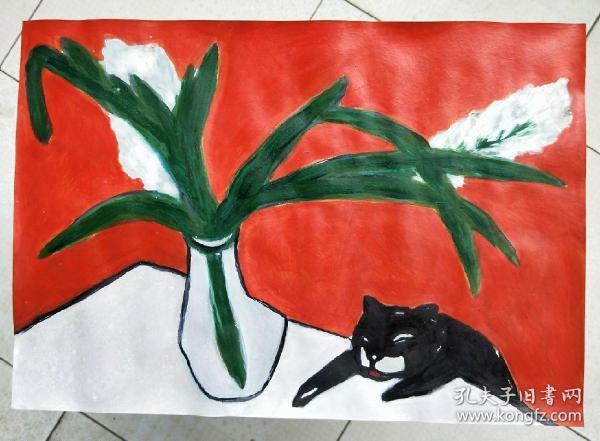 青年书画家胡子彩墨绘画作品:《周末》