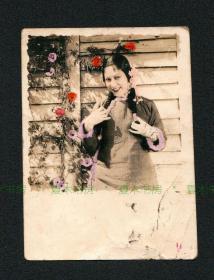 """民国时期 李绮年照片2张,手工上色原版老照片,中国早期著名电影演员、有""""爱国影星""""和""""香港第一影后""""之誉"""