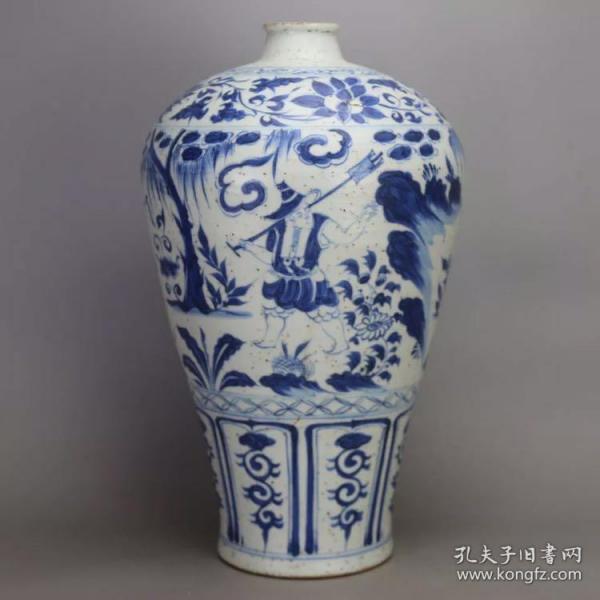 元 青花人物纹 梅瓶 (剥釉)