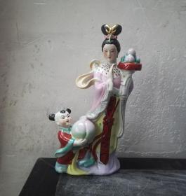 麻姑献寿*非常漂亮的文革彩瓷塑像