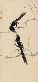近现代-徐悲鸿-双喜图-纸41.7x88cm 高清微喷复制品