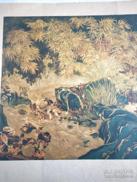 新中国宣传画【抗战时期西北行军】《磨漆画》越南,阮康。