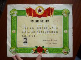 毕业证书(宁波第一中学 有照片)【36.5×30】