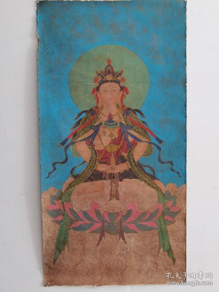 寺庙拆迁收来老唐卡一幅丝织画,