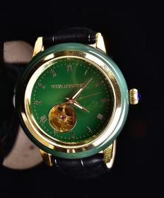 和田玉碧玉精工镶嵌款机械手表 男士腕表