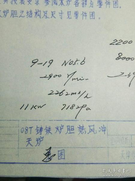 七八十年代老图纸《0.8T铸铁炉胆热风冲天炉》图纸