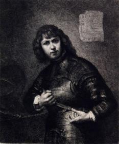 """""""大英博物馆藏画""""""""伦勃朗名画""""1881年法国蚀刻铜版画《年轻的骑士》—荷兰伟大画家""""伦勃朗(Rembrandt Harmenszoon van Rijn,1606-1669""""作品 版画家:Ferdinand Leenhoffl雕刻 法国ARCHES版画专用水印纸 43x30cm"""