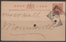 英国古典明信片,1889年卡多夫邮寄,维多利亚女王