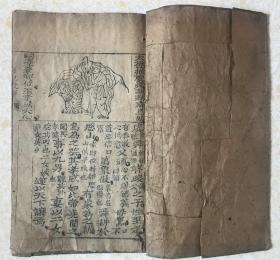 清代木刻、【二十四孝、日记故事】、品好全一册、一页一图。