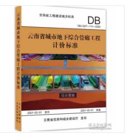 2020版云南省城市地下综合管廊工程计价标准 现货1E10a