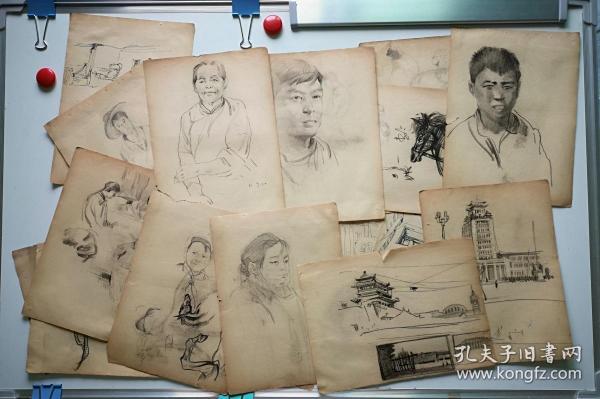 60年代初佚名手绘速写素描画稿原稿20张