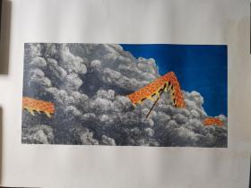 广州美术学院版画研究生,北京职业艺术家刘忠华版画《无题》,106cm*74cm,