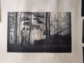 广州美术学院版画研究生,北京职业艺术家刘忠华版画《森林》,110cm*78cm,