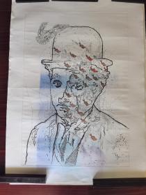 广州美术学院版画研究生,北京职业艺术家刘忠华版画《卓别林》,110cm*78cm,