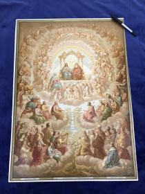 19世纪末大型多彩套印石版画《我信永生》66.1*48.4厘米