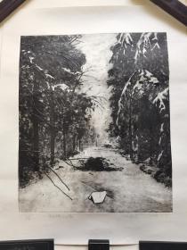 广州美术学院版画研究生,北京职业艺术家刘忠华版画《有森林的小路》,83cm*66cm,
