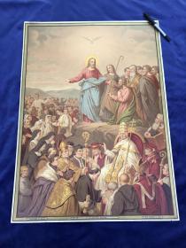 19世纪末大型多彩套印石版画《为了神圣的教会》66.4*48.1厘米