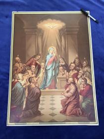 19世纪末大型多彩套印石版画《我信圣灵》66.4*48.2厘米