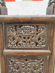 花梨木文房卷缸,镂空雕刻,包浆老道,完好