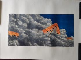 广州美术学院版画研究生,北京职业艺术家刘忠华版画《无题》B,106cm*74cm,