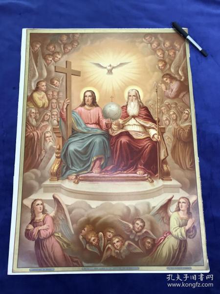 19世纪末大型多彩套印石版画《子坐在父的右边》66.1*48.5厘米