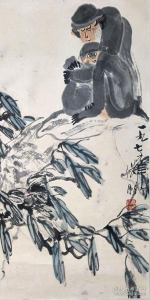 张朋猴子镜片,品相完好,尺寸:68X34,张朋(1918年—2009年),字锡百,1918年生于祖籍山东高密。原山东纺织工学院教授,中国美术家协会会员。擅大写意花鸟、草虫、动物等,兼写人物山水,其作品构图新颖、造型夸张、笔墨洗炼、形神生动,构成自己独特的风格。 替人代售,请自断,售出不退。