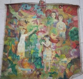 80年代 儿童题材 大油画