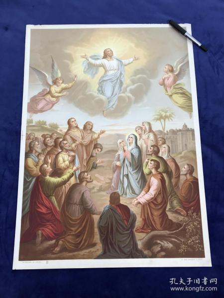 19世纪末大型多彩套印石版画《基督升天》66.2*48厘米