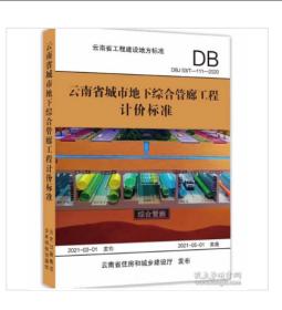 『现货』2020版云南省城市地下综合管廊工程计价标准