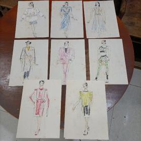 服装设计手稿(共17张)——七八十年代左右