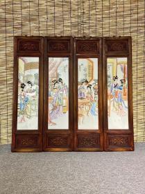 琴棋书画 粉彩实木老框镶瓷板画人物四条挂屏