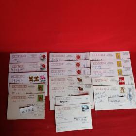 实寄明信片17张