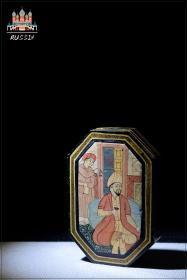欧美古董收藏品俄罗斯手工艺彩绘精美漆器收纳盒书房文房用品包邮