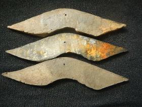 三枚战汉陶桥梁币