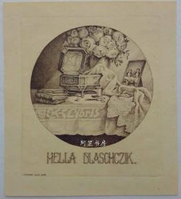 奥地利雕刻铜版画藏书票女红题材仕女书票