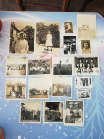 民国到50年代照片一组18张  内含广州中美血站  东中毕业照  南方大学付校长罗明  训社  海军合影  等