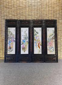 十八罗汉 粉彩人物瓷板画 四条屏挂屏