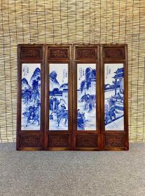 三国演义 青花人物瓷板画 四条屏挂屏
