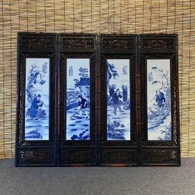 渔樵耕读 青花人物瓷板画 四条屏挂屏