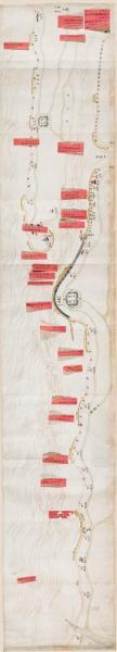 0355古地图1835 宝山海塘工程全图 清道光15年后。纸本大小43.42*239.12厘米。宣纸艺术微喷复制