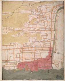 0354古地图1822 广州城西关外及十三行图 清道光2年后。纸本大小53.27*65.8厘米。宣纸艺术微喷复制