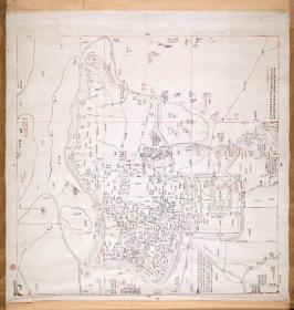 古地图1853 江宁省城图 清咸丰3年以前。纸本大小93.15*98厘米。宣纸艺术微喷复制。