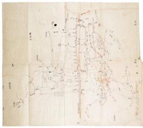 古地图1863 苏州城北河道图 清同治2年前后。纸本大小62.42*55.76厘米。宣纸艺术微喷复制。